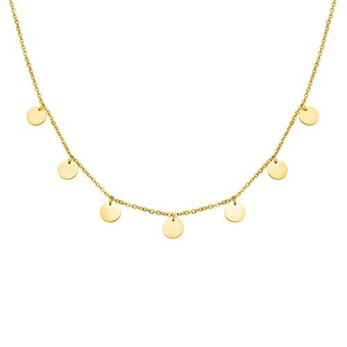 Plättchen Halskette aus widerstandsfähigem Edelstahl in Farbe Gold für Damen mit verstellbarer Länge Collier - wundervoller runder Choker Schmuck + Gratis Geschenkverpackung