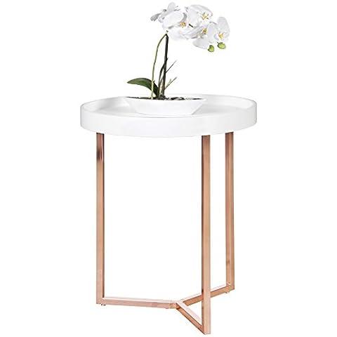 FineBuy Design Beistelltisch weiß / kupfer ø 40 cm Tablettisch