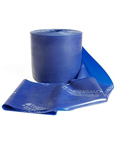 Thera-Band in Blau Übungsband und Fitnessband von der Rolle geschnitten in Wunschlänge. Gymnastikbänder für Krafttraining, Physiotherapie, Krankengymnastik und Fitnessstudios. (20 Laufmeter)