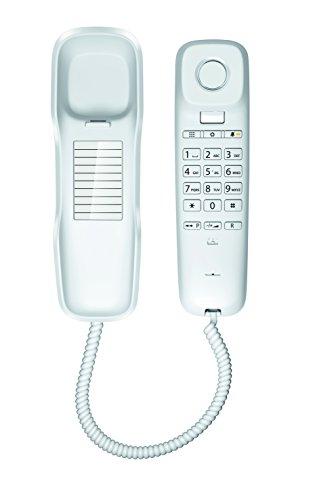 Gigaset DA210 - Schnurgebundenes Telefon - klassisches Schnurtelefon mit Stummschaltung und gutem Klang - platzsparendes Festnetztelefon, weiß (Wand-schnurlos-telefon)
