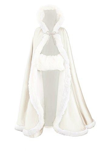 Damen Mit Kapuze Cape Hochzeit Braut Winter Mit Pelzbesatz in Voller Länge Mehrere Farben FREIER Hand MUFF, Ivory, Länge:140cm(55) ()