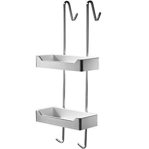 duschkorb haengend edelstahl Exquisite 304 Edelstahl Zeichnung Bad Hängende Korb 2-Tier-Bad Regal für Bad Glas Duschraum mit 2 Haken