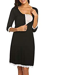 Mitlfuny Ropa premamá Primavera Verano Mujer Lactancia de Maternidad Cuello V Vestidos Botón Encaje Enfermería Premamá Embarazadas Manga de Siete Cuartos Camisón Lactancia Embarazo Pijama de Rodilla
