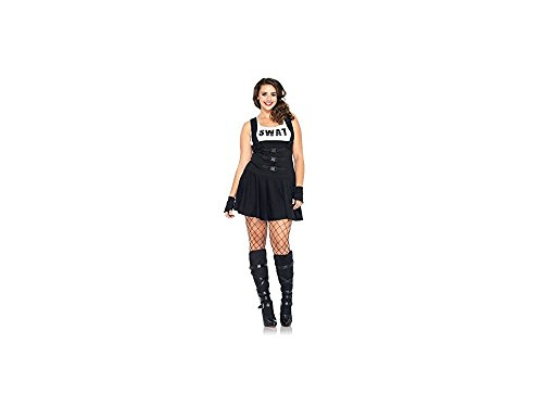 Swat Kostüm Sultry - 2 PC Sultry SWAT Officer (1X-2X,Black)