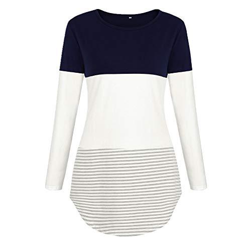 YEZIJIANG Oberteile Damen Langarm Streifen Farbblock Bluse T-Shirt Frauen Langarmshirt Farbblock T-Shirt Casual Rundhals Tunika Tops Loose Pullover Hemd