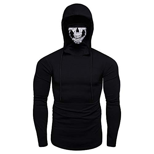 Kostüm Assassin's Creed Männer - SANFASHION Herren Hooded Mens Mask Skull Sweatshirt Pure Color Pullover Langarm Kapuzenpulli Tops