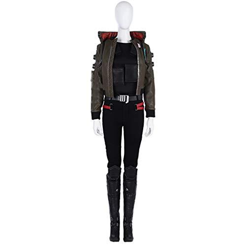 nihiug Cyber   Punk 2077 Halloween Kostüm Spiel Cos weibliche Figur Jacke Kleidung vollen Satz Kinder Cosplay kann,Black-L(168to172) (Cyber Punk Kostüm)