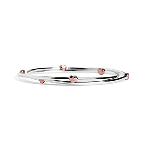 Two Linked Bangles in Silver with Rose Gold