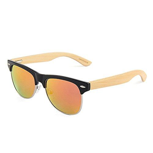 Yiph-Sunglass Sonnenbrillen Mode Niet Dekoration Halbrandlose Polarisierte Bambus Sonnenbrille für Männer Frauen Spiegel Objektiv UV-Schutz (Farbe : Rot)