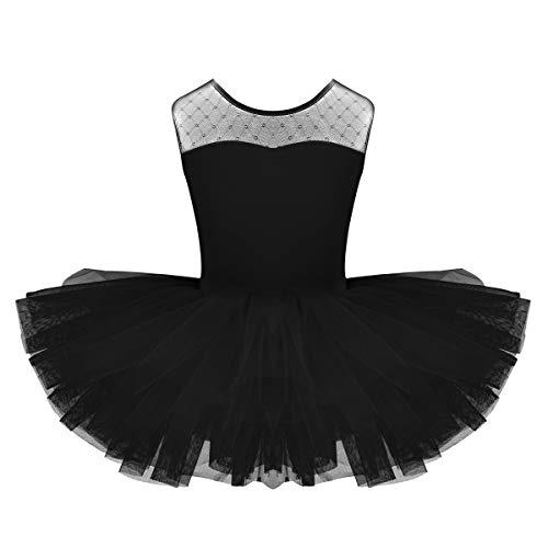iiniim Mädchen Kleid Tüll Prinzessin Kostüm Ballettkleid Kinder Ballett Trikot Ballettanzug mit Tütü Röckchen Tanzkleid Gr.104-152 Schwarz - Schwarz Trikot Kostüm