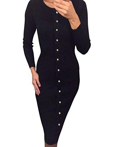 Shinekoo Femmes Une Rangée de Boutons Automne Tricot à Manches Longues Robe de Base Noir
