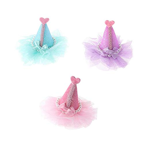 3pcs Adorable Cute Cat Dog Pet Birthday Party Hat Shaped Hair Clips (lila, Grün Und Pink)