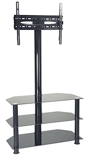 Ultra Cantilever Black Tempered Glass And Stainless Steel Tv Stand For Tvs Upto 65