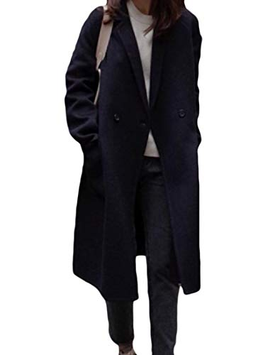 CuteRose Women Warm Turn Down Collar Mid Long Fall Winter Thick Trench Coat Navy Blue XS Navy Wool Toggle Coat