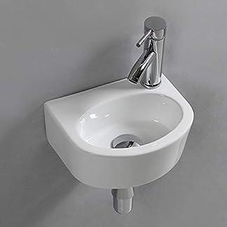 Lavabo ovalado de cerámica para lavabo de pared o lavabo, para cuarto de baño pequeño.