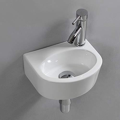 Lavabo ovale in ceramica da appendere alla parete per piccoli guardaroba, bagno, mano destra