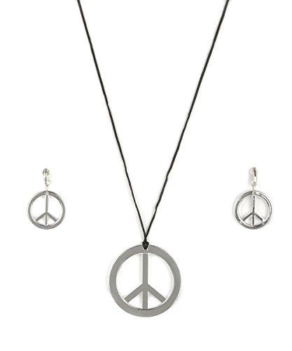 ie Peace Set Ohrringe Clips und Halskette braun-Silber Einheitsgröße ()