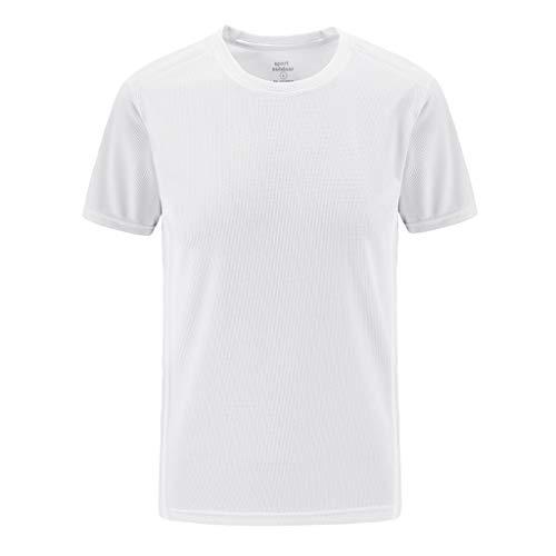 Crazboy Herren Sommer Freizeit T-Shirt Outdoor Plus Size Sport Schnelltrocknend Atmungsaktiv Oberteile(XXXXXX-Large,Weiß)