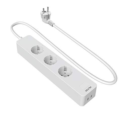 MLITER SMART WLAN 3-fach Steckdosenleiste mit Überspannungsschutz und 2-fach USB Ladeanschlüsse, kompatibel mit Alexa Echo und Google Assistant, Weiß