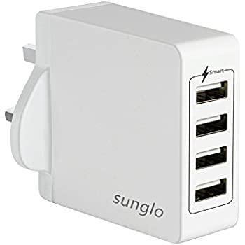 USB Wall Charger,Sunglo 4-Port USB Adapter Charger for Home Travel