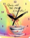 VR46 Orologio da parete 20x 25cm Cream in my Coffee Caffè Targa in metallo orologio clock