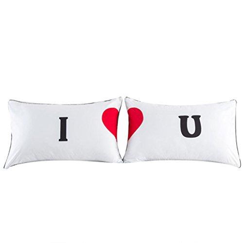 Xinan Satz von 2 Paare Kissen Fällen Buchstaben Gedruckt Bettwäsche Hochzeit (E)