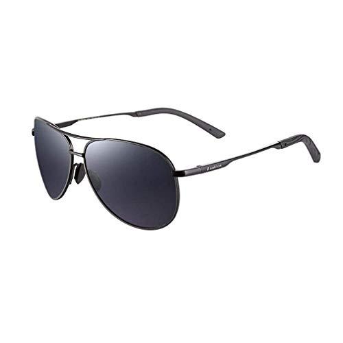 KISlink Sonnenbrille Für Männer Aviator Polarized HD Fahren Angeln Metallspiegel UV 400 Objektivschutz (Farbe: Schwarz/grau)