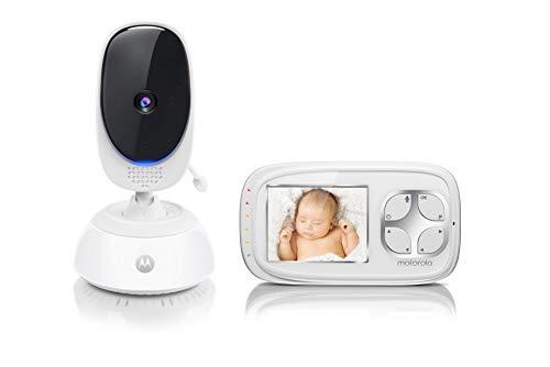 """Motorola Comfort C35 - Vigilabebés vídeo con pantalla LCD a color de 2,8"""", modo eco y visión nocturna, color blanco"""