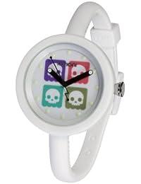 IO?ION! PF-W2T04 - Reloj analógico de cuarzo unisex con correa de silicona, color blanco
