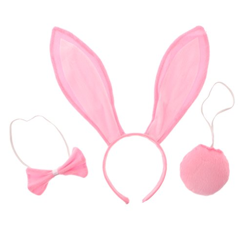 B Baosity 3 teilig Mädchen Kaninchen Hase Ohren Kostüm Hasenohren Tierkostüm für Ostern Party Hochzeit Geburtstag Kostüm Cosplay - ()