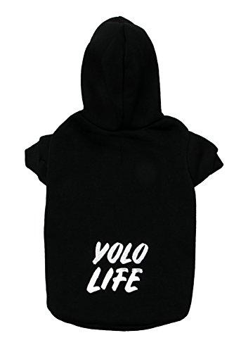 GENOME CODE Pet Kleidung-Puppy Hoodie Pullover Hundemantel Warm Sweatshirt Yolo Life Bedruckt Shirt Kostüm, XXX-Large, Schwarz