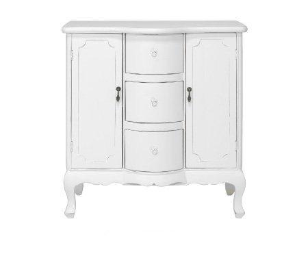Mobiletto bianco in legno stile vintage con due cassetti L'ARTE DI NACCHI MI-1467/B