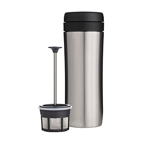 ESPRO Reise-French Press Travel Press, Mini Coffee Maker mit Thermo-Funktion, Edelstahl, Kaffee, to go, 350ml, edelstahl Thermos Travel Mug