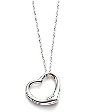 Mädchen - Halskette Kind- 925 Sterling Silber Anhänger und Kette, klein Herz, 42cm