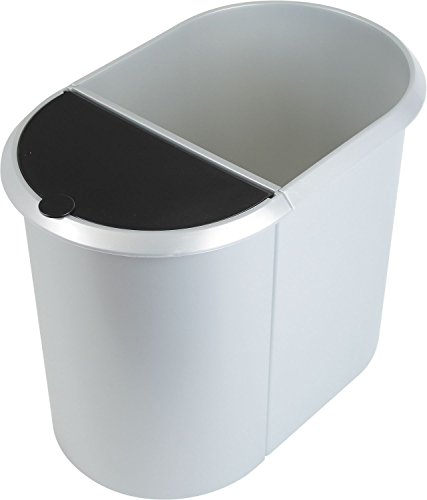 """Helit H6220900 - System Papierkorb \""""the double\"""" 20 + 9L, silber"""