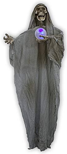 sager Geist mit LED-Leuchtkugel - 170 cm - Perfekte Grusel Totenkopf Skelett Dekoration für Ihre Halloween, Day of The Dead oder Mottoparty ()