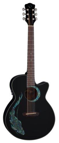 Luna Guitars Fauna - Chitarra acustica amplificabile, con carpa Koi decorativa, colore: Nero