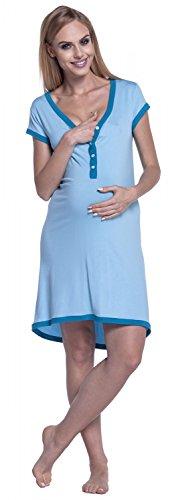 Happy Mama. Damen Umstands-Nachthemd mit Stillfunktion. Stillshirt Kurzarm. 981p Hellblau & Cyan