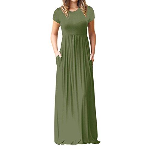 MRULIC Damen Langes Abendkleider Beiläufige Taschen Kurzschluss Hülsen Boden Längen Kleid Lose ParteiKleid(Grün,EU-42/CN-XL) (Boden Elfenbein)