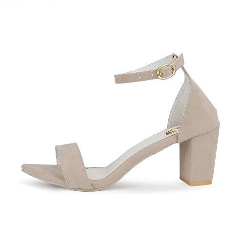 SHOFIEE Women's Cream Block Ankle Strap Heels Sandal -38