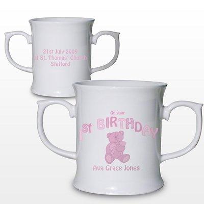 Personalised Pink Teddy Bear 1st Birthday Bone China Loving Mug Keepsake Gift for Baby Girl by PGW China Loving Cup