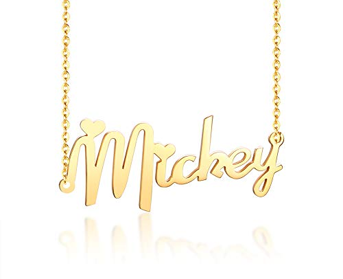 Vnox Personalisierte Name Gold Überzogener Edelstahl Mit Jedem Namen Monogramm Anhänger 40cm Kette Halskette für Frauen Mädchen