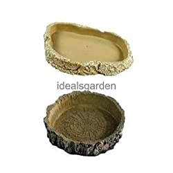 Alcoa Prime 2Pcs Food Water Dish Bowl Feeder Terrarium for Pet Reptile Tortoise Snake