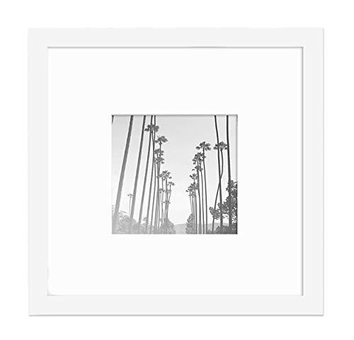 PF&A 20x20 cm mit Passepartout für Ein 10x10 cm Foto - Scheibe aus Glas - Oxford Weiß Quadratischer Schmaler Bilderrahmen/Breite des Rahmens 2 cm ...