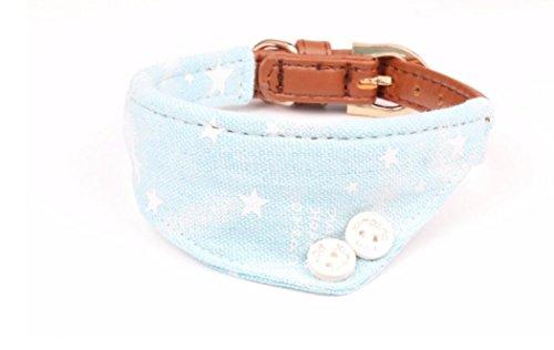 Maycong Hunde Geschirre Cowboy Speichel Stern Muster Dreieck Handtuch Hundehalsband PU Hundehalsband (Blau)
