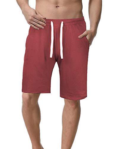 iClosam Shorts Herren Für Sport Joggen und Training Shorts Fitness Mit Kordel (Weinrot, S) -