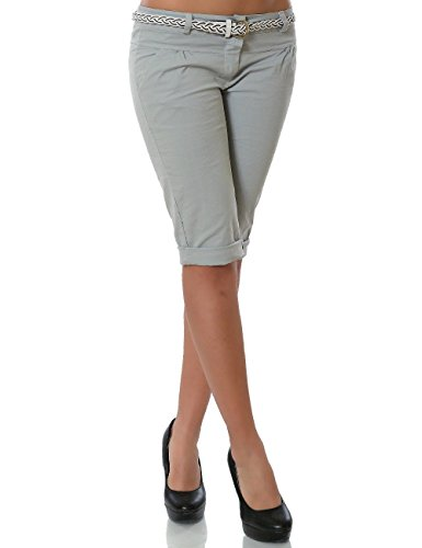 Damen Chino Capri Hose inkl. Gürtel (weitere Farben) No 13934, Farbe:Grau;Größe:36 / S