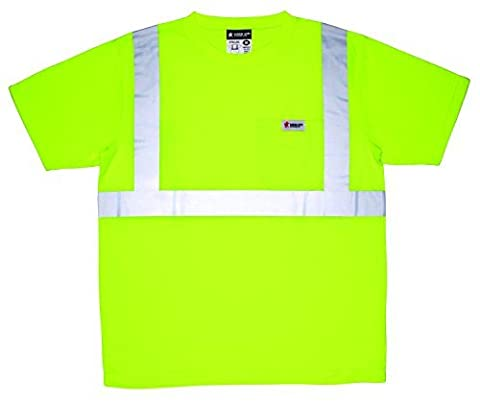 MCR Safety STSCL2SLXL Class 2 Short Sleeve Polyester Jersey T-Shirt with 2 Silver Stripes and Breast Pocket, X-Large, Lime by MCR Safety