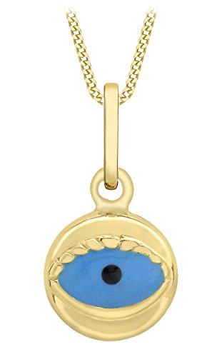 Carissima Gold Damen-Kette mit Anhänger 9ct Enamel Evil Eye Pendant on Curb Chain 375 Gelbgold 41 cm - 1.45.5083