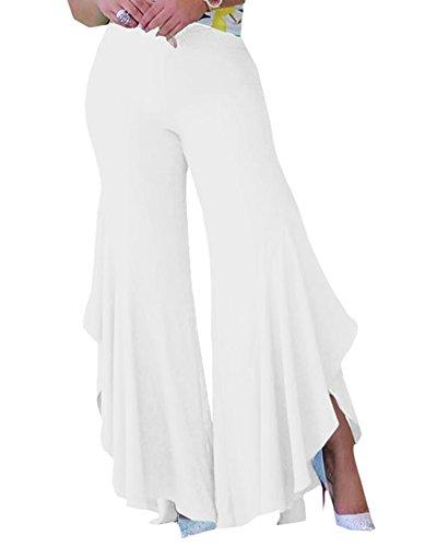 Donne A Vita Alta Tinta Unita Irregolare Elegante Sciolto Casuale Gamba Larga Pantaloni Bianco